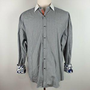 Robert Graham stripe floral cuffs cotton dress, XL